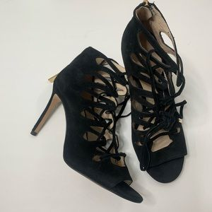 Louise et Cie Suede Caged Lo-kacy Lace-up Heels 8